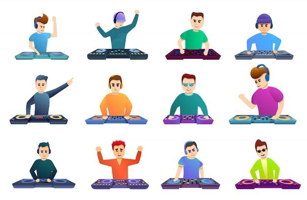 Conjunto de iconos de música dj, estilo de dibujos animados
