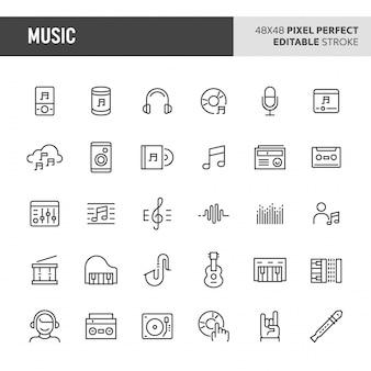 Conjunto de iconos de música e instrumentos