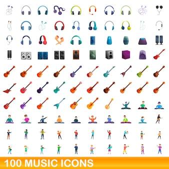Conjunto de iconos de música. ilustración de dibujos animados de iconos de la música en fondo blanco