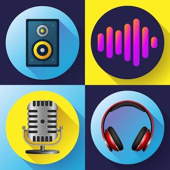 Conjunto de iconos musicales estilo plano