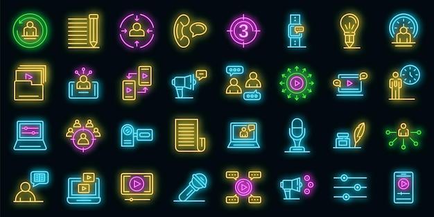 Conjunto de iconos de narrador. esquema conjunto de color neón de los iconos de vector de narrador en negro