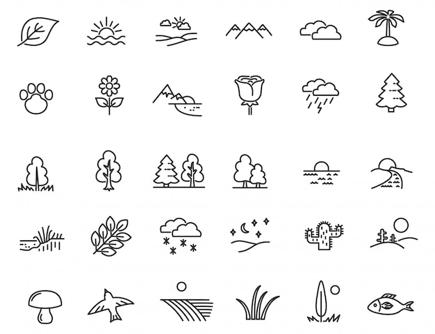 Conjunto de iconos de naturaleza lineal.