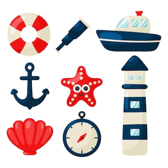 Conjunto de iconos náuticos estilo de dibujos animados. aislado