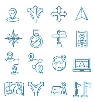 Conjunto de iconos de navegación con estilo de contorno