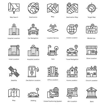 Conjunto de iconos de navegación, mapa y línea de dirección