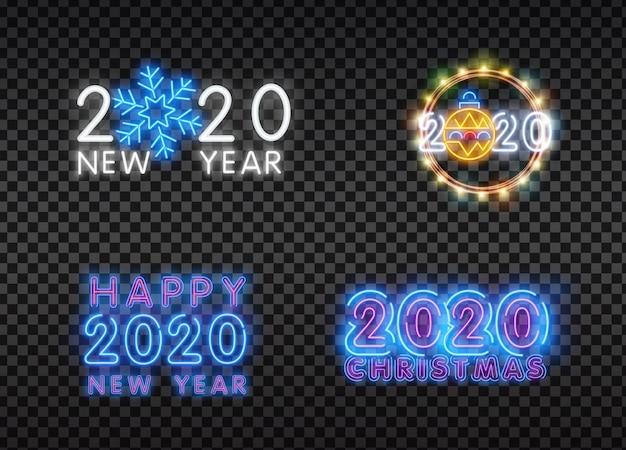 Conjunto de iconos de navidad y año nuevo en un estilo plano con efecto de neón.