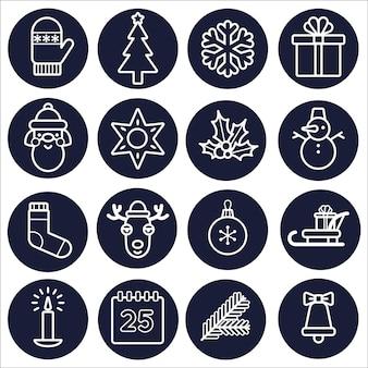 Conjunto de iconos de navidad. contorno blanco aislado sobre un fondo redondo oscuro. arte de línea vectorial.