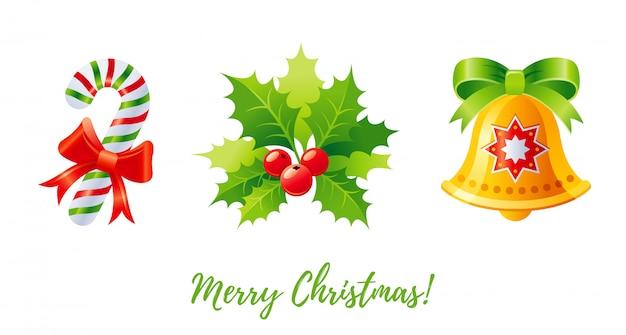 Conjunto de iconos de navidad dibujos animados andy cane, holly mistletoe, jingle bell.