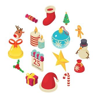 Conjunto de iconos de navidad, estilo isométrico