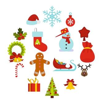 Conjunto de iconos de navidad, estilo plano