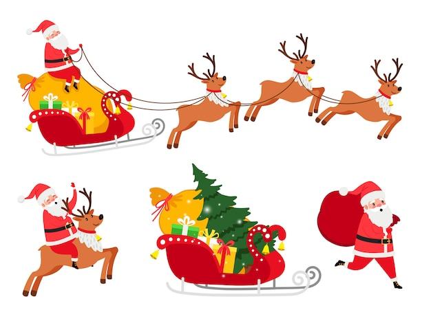Conjunto de iconos de navidad santa