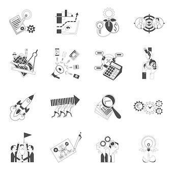 Conjunto de iconos de negocio concepto de trabajo en equipo negro