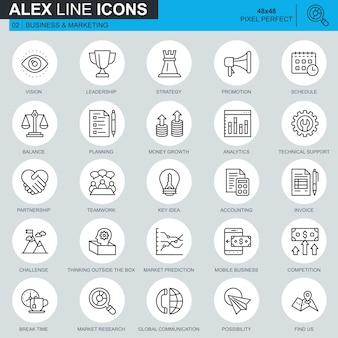 Conjunto de iconos de negocio y marketing de delgada línea
