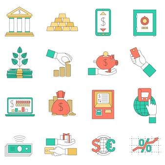 Conjunto de iconos de negocios bancarios