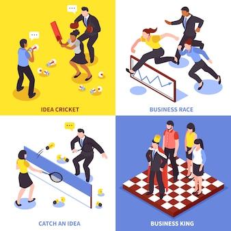 Conjunto de iconos de negocios de competencia