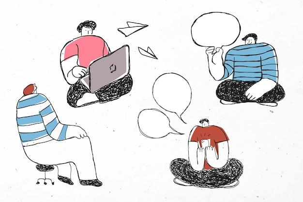 Conjunto de iconos de negocios de dibujos animados de discusión de trabajo