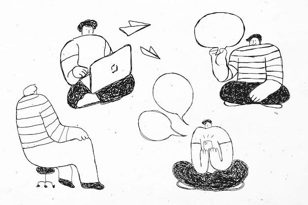 Conjunto de iconos de negocios de dibujos animados de vector de discusión de trabajo