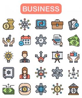 Conjunto de iconos de negocios, estilo de color lineal