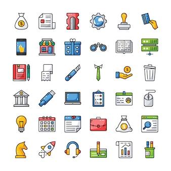 Conjunto de iconos de negocios y finanzas