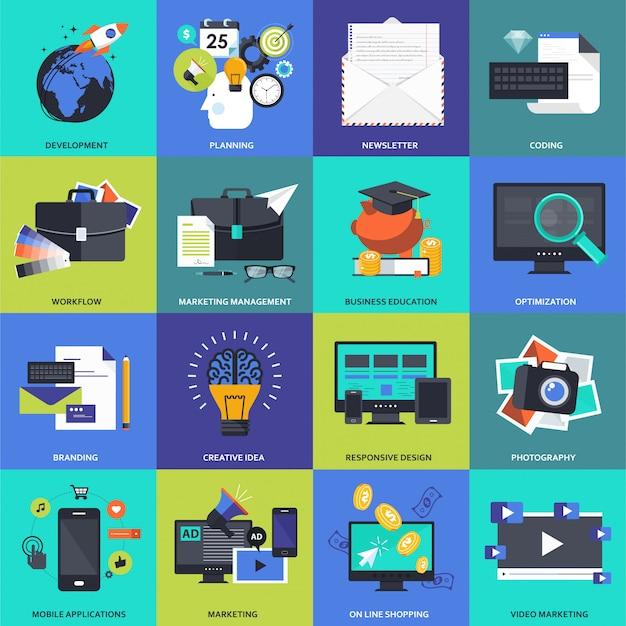 Conjunto de iconos para negocios, gestión, tecnología y finanzas.