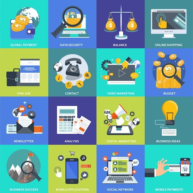 Conjunto de iconos de negocios, gestión y tecnología