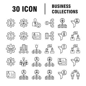 Conjunto de iconos de negocios. iconos para negocios, gestión, finanzas, estrategia, marketing.