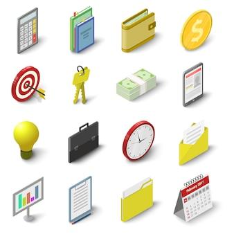 Conjunto de iconos de negocios. ilustración 3d isométrica de 16 iconos de vector de negocio para web