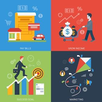 Conjunto de iconos de negocios en línea moderno de banner web de estilo plano
