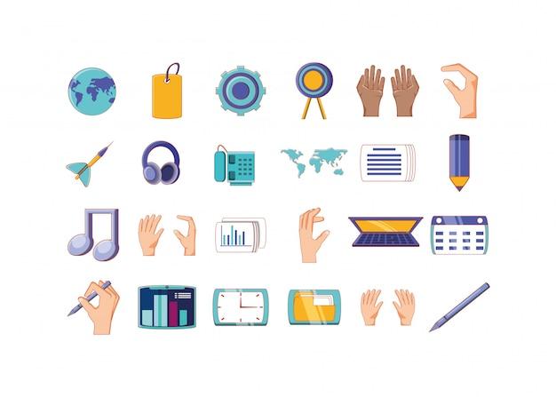 Conjunto de iconos de negocios y oficinas aislados
