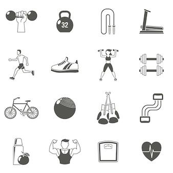 Conjunto de iconos negro de fitness