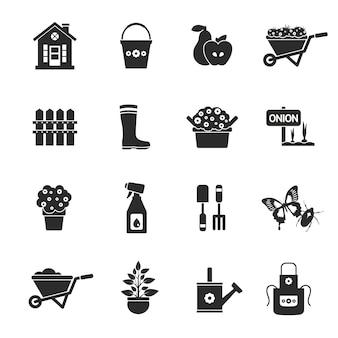 Conjunto de iconos negro de jardinería