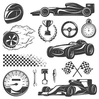 Conjunto de iconos negros y aislados de carreras con herramientas y equipos para la ilustración de vector de street racer