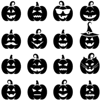 Conjunto de iconos negros de calabaza de halloween