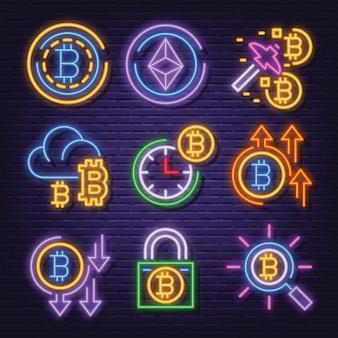 Conjunto de iconos de neón de criptomoneda