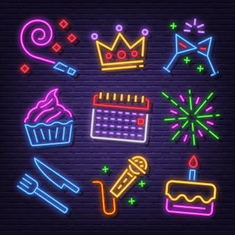 Conjunto de iconos de neón de fiesta de cumpleaños