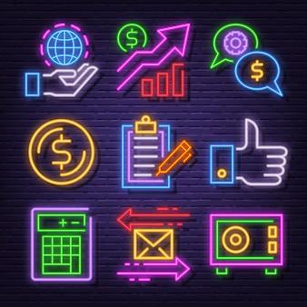Conjunto de iconos de neón de negocios