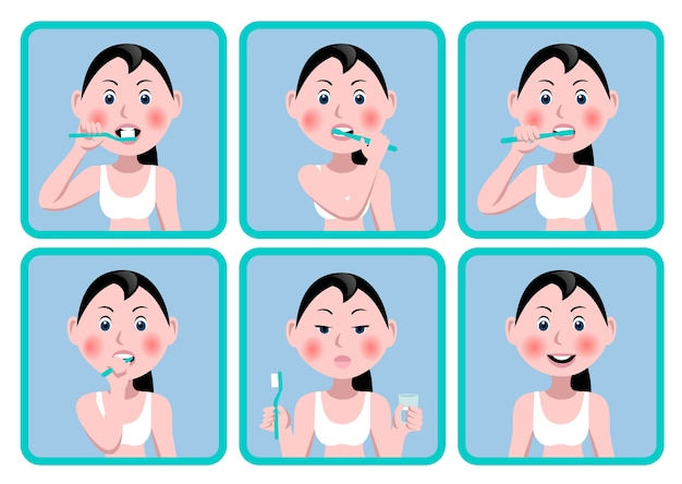 Conjunto de iconos con una niña que se cepilla los dientes