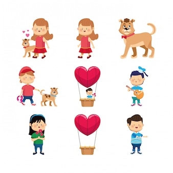 Conjunto de iconos de niñas felices, niño y perros
