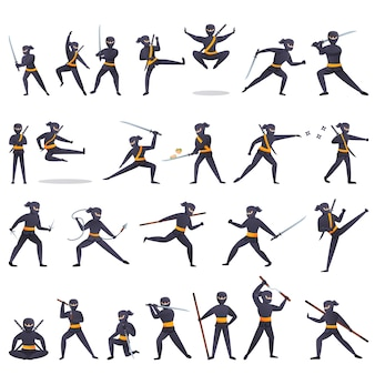 Conjunto de iconos ninja, estilo de dibujos animados