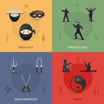 Conjunto de iconos ninja
