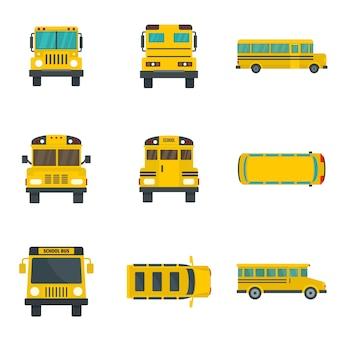 Conjunto de iconos de niños de autobús escolar nuevo