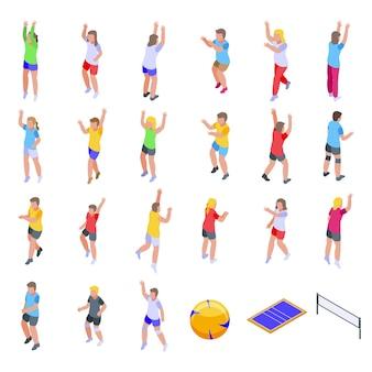 Conjunto de iconos de niños jugando voleibol. conjunto isométrico de niños jugando iconos de voleibol para web