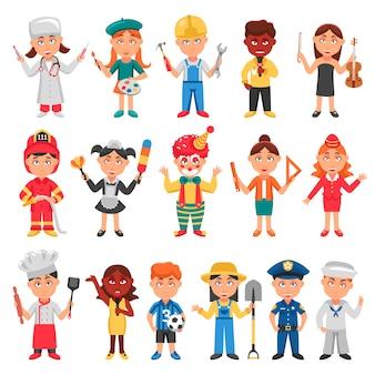 Conjunto de iconos de niños y profesiones