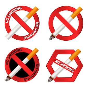 Conjunto de iconos de no fumar
