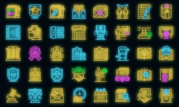 Conjunto de iconos de notario. esquema conjunto de iconos de vector de notario color neón en negro