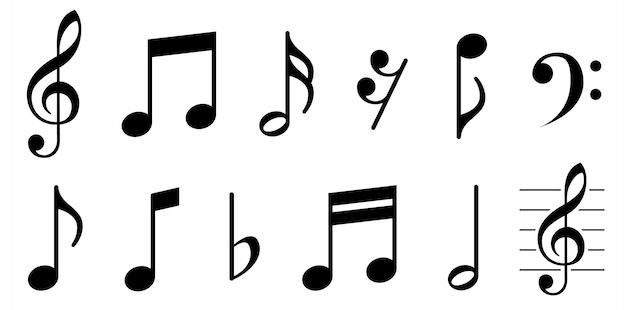 Conjunto de iconos de notas musicales.