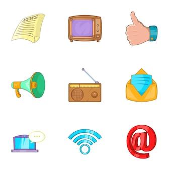 Conjunto de iconos de noticias, estilo de dibujos animados