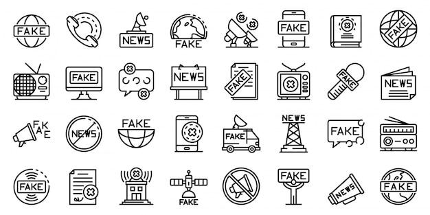 Conjunto de iconos de noticias falsas, estilo de contorno
