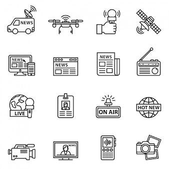 Conjunto de iconos de noticias de periodismo y medios de comunicación. línea estilo stock vector.