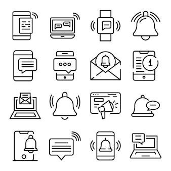Conjunto de iconos de notificación, estilo de contorno